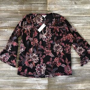 NWT LUCKY BRAND floral bell sleeve blouse